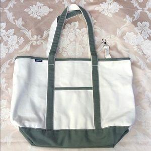 Lands' End Large Olive Long Handle Open-Top Bag